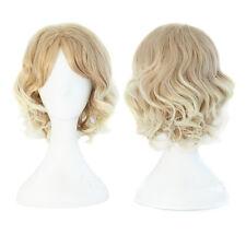 Lovely Curly Korean 30 cm Dark Blonde Curly Cosplay Anime Wig for Men or Women