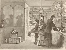 A Boston Bar - Tucked Away On Grocery Store. Drinking. Harper's Weekly 1874