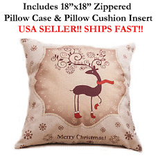 "18x18 18"" RUDOLPH REINDEER MERRY CHRISTMAS XMAS Zippered Pillow Case & Cushion"