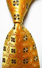 New Classic Paisley Gold Black White JACQUARD WOVEN 100% Silk Men's Tie Necktie