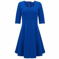 Almost Famous D796 Womens Swing Skater 3/4 Sleeve Dress Blue Sz 10