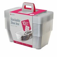 Life Story SHB-10 6 Quart Clear Shoe Storage Box Stacking Container, 10 Pack