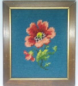 Vintage Handmade Stitched Needlepoint Framed Flower & Blue Background  ca.1950s