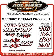 MERCURY OPTIMAX 225 XS Outboard Decal Kit  reproduction  250 175 200
