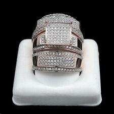Trio Set Solid 18k Rose Gold Valentine Day 1.34Ct Engagement Bridal Wedding Ring