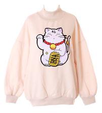 TS-152 Beige Glücks-Katze Fortune Japan Cat Goth Lolita Pullover Sweatshirt