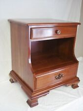 Kling Solid Cherry Nightstand 2 Drawer Chippendale Style Night Stand Brass EUC