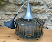 Vintage Danish Chrome Grey and Smoked Glass and Textured Glass Ceiling Light