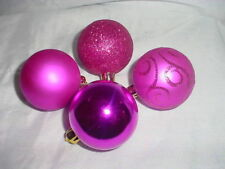 Pack of 10 - 60mm Hot Pink Baubles - Christmas Tree Decorations (BA9)