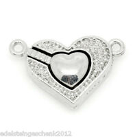 5 Silberfarbe Zwei Herzen Form Magnetverschluss Verschlüsse 25x16mm