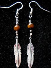 Navajo Silver ¾ inch Eagle Feather earring Tiger Eye bead by Roseanne Manygoats