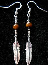"Navajo Silver Eagle Feather earrings 1¼"" & Tiger Eye bead by Roseanne Manygoats"