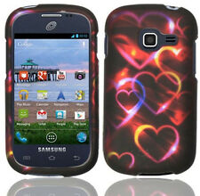 For Samsung Galaxy Centura S738C Rubberized HARD Case Cover Colorful Hearts