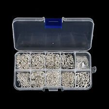 Jewellery Making Components Starter Kit Tools Head Pins Beads &Box -Sliver