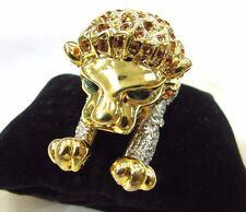 18KGP Lion Swarovski Element Austrian Crystal Rhinestone Shoulder Brooch Pin