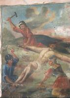 Altes Heiligenbild Gemälde Kreuzweg Jesus wird gekreuzigt