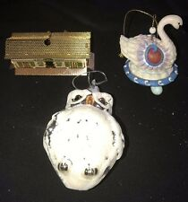 3 CHRISTMAS ORNAMENTS DECORATIONS OWL SWAN A SWIMMING TRAIN STATION GOLD NICE @@