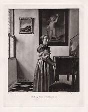 1800s Johannes Vermeer Antique Print Girl Playing Harpsichord FRAMED Signed COA