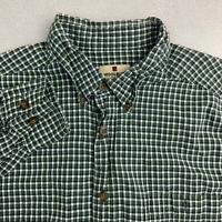 Woolrich Button UP Shirt Mens Sz XL Green Long Sleeve Cotton Check Casual Shirt