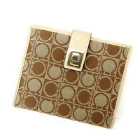 Salvatore Ferragamo Wallet Purse Ganchini Beige Brown Woman Authentic Used Y1161