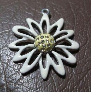 Swan Swarovski Silvertone & Enamel Flower Pendant/Charm With Crystals