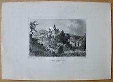 Schwarzenberg - Sachsen - Ansicht mit Schloß - Stich, Stahlstich J.Umbach 1870