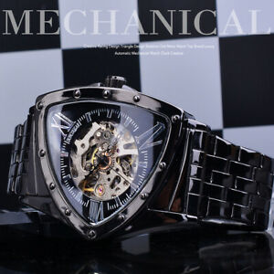 New Design Men's Stainless Steel Skeleton Triangle Automatic Mechanical Watches