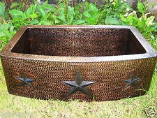 Hammered Copper Farmhouse Kitchen Sink /Star Design /16 Gage Copper