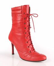 CHRISTIAN LOUBOUTIN RED LEATHER LACE UP STILETTO SPORT ANKLE BOOTS BOOTIES 38