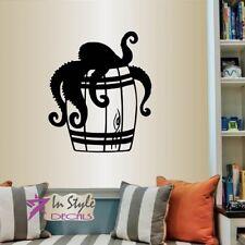 Vinyl Decal Octopus in Barrel Tentacles Animal Bathroom Bedroom Wall Sticker 773