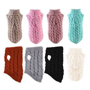 Turtleneck Knitted Dog Sweater Warm Jumper Coat Pet Winter Knitwear Clothes