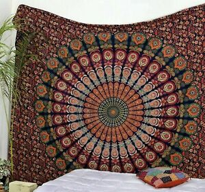 Queen Floral Cotton Brown Bedsheet Table Décor Tapestry Beach Mat Wall Hanging