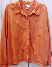 ALFRED DUNNER Plus Size 20-Button Up Peach Color Blouse-Soft feel-Elastic cuffs