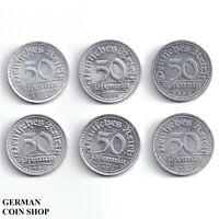 Set 50 Pfennig Aluminium 1920 A D E F G J - Weimarer Republik Inflation