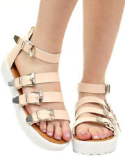 Qupid Array-01 Open Toe Buckle-Up Lug Sole Gladiator Sandals, Nude, US 7