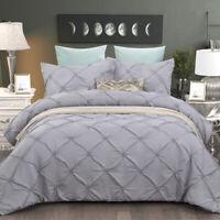 Pintuck Light Grey Diamond Queen/King Size Quilt Doona Duvet Cover Set Bedding