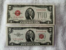 2 TWO DOLLAR BILLS DATED 1928G & 1953C BOTH MINT CONDITION