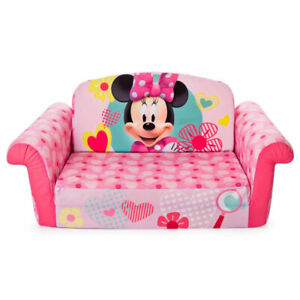 Marshmallow Furniture Kids Flip Open Sofa Furniture Couch, Minnie Mouse (Used)