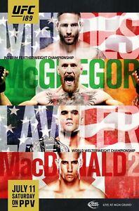 UFC 189 Poster - McGregor vs Mendes - Lawler vs MacDonald 2 - NEW - USA