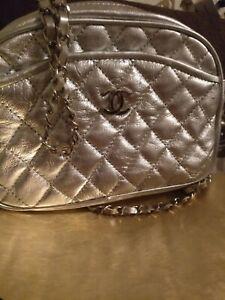 chanel tasche original Vinage Mona lisas Lächeln metallic silber Sammlerstück