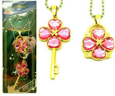 Anime Shugo Chara Key+Lock Necklace Cosplay Couple Pendant 2Pcs/Set Pink