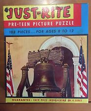 Vintage 1940's Fairchild Just-Rite Pre-Teen Picture Puzzle Liberty Bell Complete