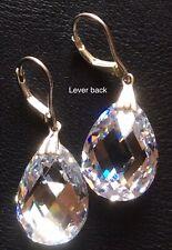 925 Sterling Silver ,Clear Crystal Pear Teardrop Dangle Lever back Earrings #61.
