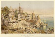 Varanasi, Benares, l'Inde, CHROMOLITHOGRAPHIE d'environ 1890
