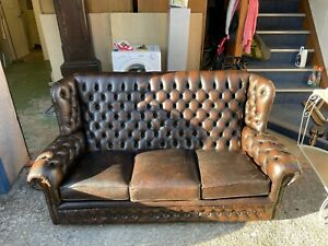 Vintage Brown Leather Chesterfield Sofa (MONK) 3 Seater Sofa ( burnt chestnut)