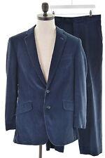 AQUASCUTUM Mens Corduroy 2 Piece Suit Size 42 Large W34 L30 Navy Blue Cotton