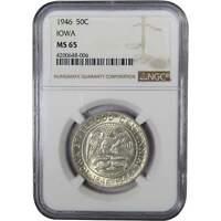1946 Iowa Centennial Commemorative Half Dollar MS 65 NGC 90% Silver 50c US Coin