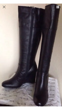 FITZWELL Leather BOOTS Size: 11.5 Wide (US) SHIP FREE Black Wedge