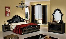 penderie lit nachttische Miroir NOIR-OR BRILLANT CLASSIQUE MEUBLE ITALIEN
