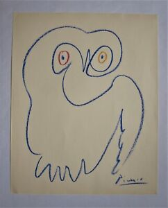 PICASSO. A fine wax crayon drawing on wove Gestetner paper of a Owl like bird.